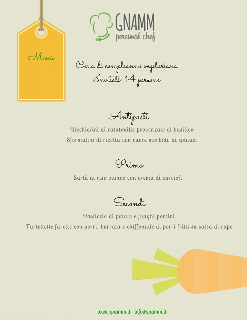 Menù vegetariano - Gnamm Personal Chef