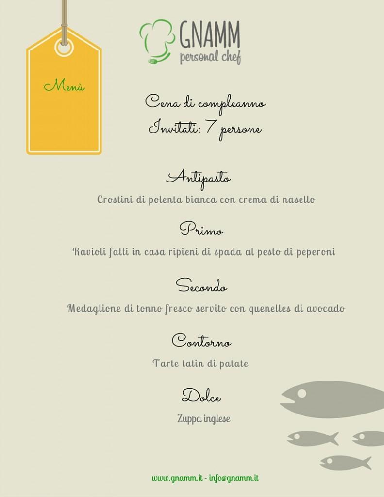 Menù di pesce Giulia - Gnamm Personal Chef